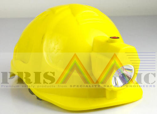 Yellow Safety Helmet With Head Lamp, for Industry