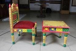 Traditional Furniture, Wooden Chair and Table, Hand Painted