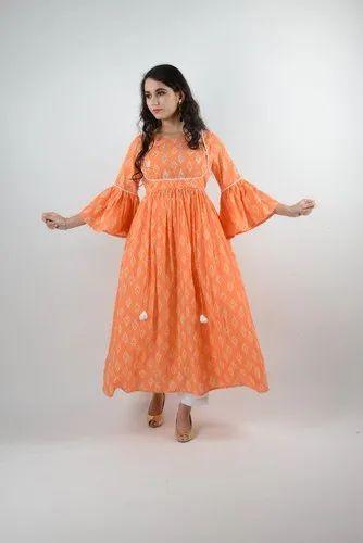 Orange Cotton Printed Dress With Pitton Work