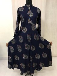 Mix Gown Style Ladies Cotton rayon printed long gown, 100 - 150, Machine wash