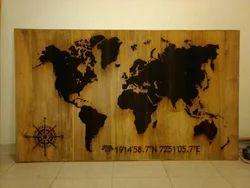 English Hand carved burnt wood world map, Size: 6 Feet X 3.5 Feet