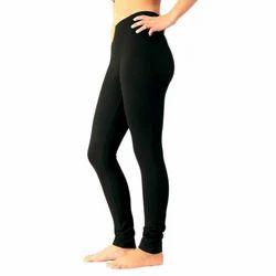 Plain Cotton/lycra Ladies Black Legging