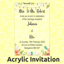 Transparent Pull-out Insert Acrylic Wedding Invitation, Size: 8 X 6