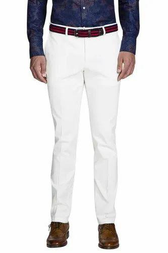 Unicolr Poly Cotton Marine White Trouser, Machine wash