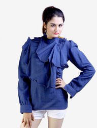 38 Dark Blue Blue Cotton Ruffled Angrakha Top