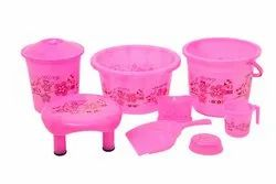 Plastic Bathroom Set - Flower Print (8 Pisces set)