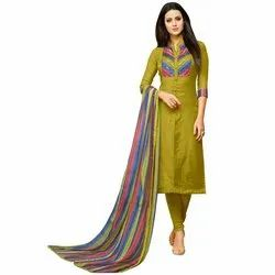 Rajnandini Mehendi Green Chanderi Silk Plain Semi-Stitched Dress Material With Printed Dupatta