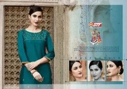 Aakruti-Stf Straight Silk Based Embroidery Work Kurtis With Pants Festival Wear Collection