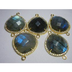 Labradorite CZ Set Gemstone Connectors