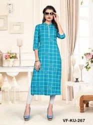 Cotton Check Print Kurti