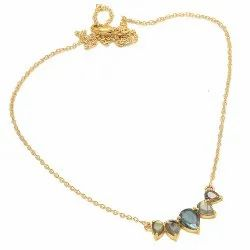 Pear Gemstone Labradorite Necklace