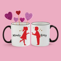 White Ceramic Printed Coffee Mug
