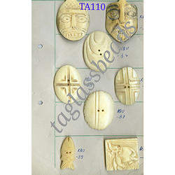 T. A. Glass Beads multicolor Bone Buttons