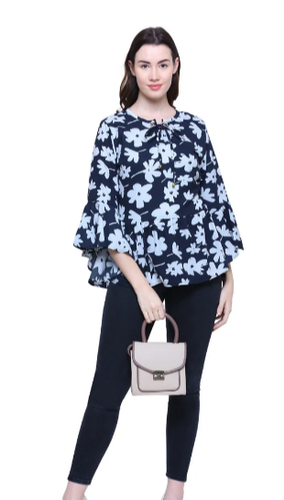 Poly Viscose Printed Bell Sleeve Navy Blue Top With Dori