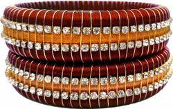 Brown And Golgen Silk Thread Bangles Set
