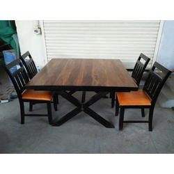 Wooden 4 Seater Dining Table Sets Dimension 85 X 90 Cms