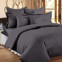 Cotton Satin Striped Double Bed Sheet