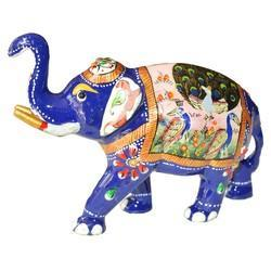 Metal Elephant With Peacock Design
