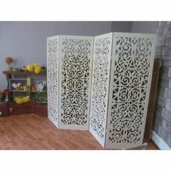 White Wooden Carving Partition