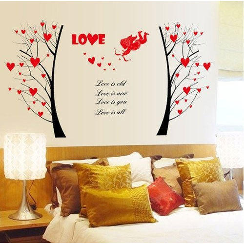 valentine cupid and love trees wall sticker, size: 60 x 90 cm, rs 60
