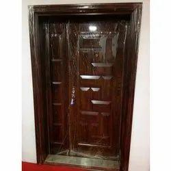 Brown STEEL DOUBLE DOOR Hinged Door, For Home, Size/Dimension: 205*120