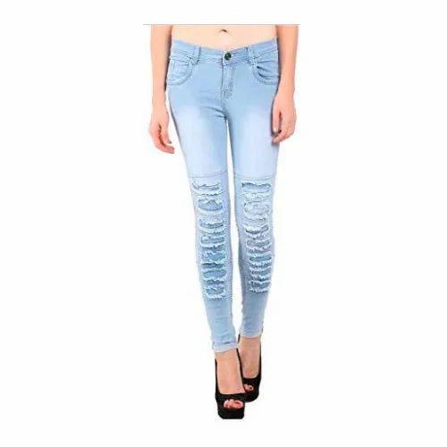 Women Blue Denim Damage Jeans, Size: S - XL, Rs 580 /piece A M