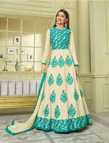 17f079b2a6 Rama Green And Off White Designer Party Wear Suits, Rs 1860 /piece ...