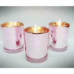 Round Pink Metallic Glass Candle