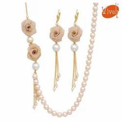 White Traditional Beads Mala Set