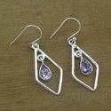 Indian Amethyst Gemstone 925 Sterling Silver Women Earring