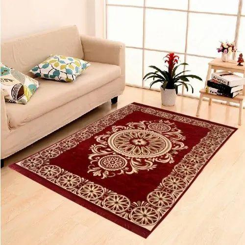 Rectangular Red Chenille Carpet Galicha