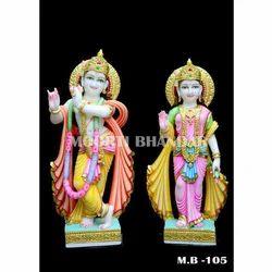 Designer Radha Krishna White Makrana Marble Statue