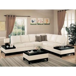 L Shape White Leather Sofa Set, for Home, Size: Rustic