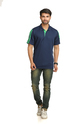 Adidas Navy Blue & Green Men's Polo T-shirt