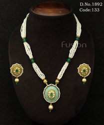 Traditional Kundan Meenakari Pendant Set
