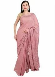 Lucknowi Chikan Work Old Rose Saree