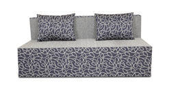 Adorn India Easy Three Seater Sofa Cum Bed Poly Cotton (Blue & Grey) 5'X6'