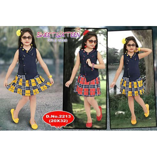 10f54dc0a9 Girls Cotton Check Pattern Skirt And Top, Rs 495 /piece, Kamal ...