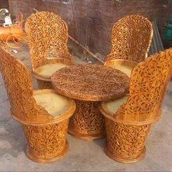 Brown Wooden coffe Sofa Set