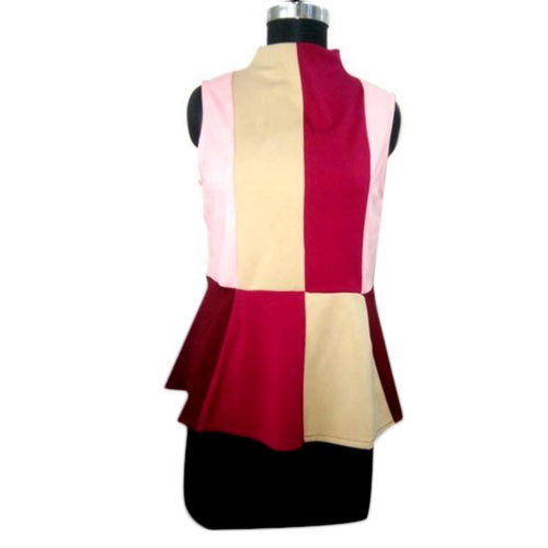 Ladies Georgette Sleeveless Multi Color Peplum Top, Size: S - XL