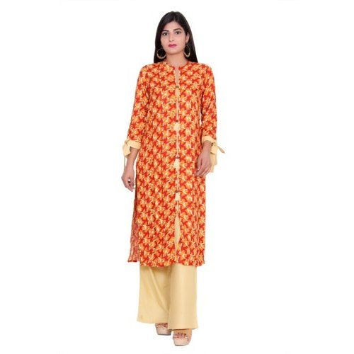 5b5217b1bf3 Straight Party Wear Yellow And Orange Heavy Rayon Dress