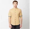 Men Cotton John Players Brown 01 Solid Slub Full Sleeve Trim Fit Shirt