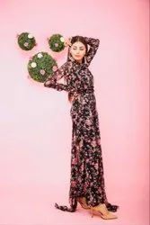 Black Floral Both Side Draped Frilled Jumpsuit with Belt