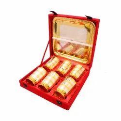 6 Glasses Metal Brass Glass Set, for Gifting