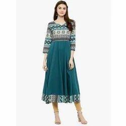 Crepe Casual Wear Ladies Anarkali Kurti, Size: S-XXL, Wash Care: Handwash