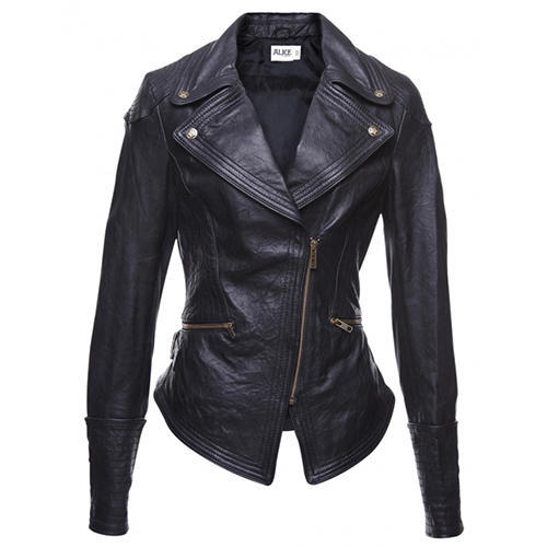 Womens Black Long Cut Leather Jacket at Rs 4000 /piece | Ladies ...
