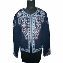 Ladies Denim Blue Embroidery Jacket