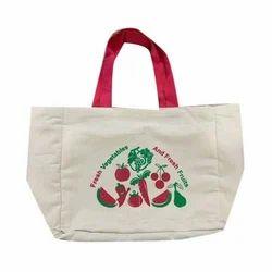 Printed Loop Handle Cotton Vegetable Bag, Size: 13x2x15 Inches, Storage Capacity: 2-4kg