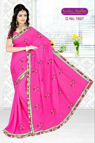 Chiffon Fancy Embroidery Party Wear Saree, Length: 6 m