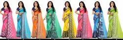 Synthetic Party Wear Badami IPL Rangoli Saree, Packaging Type: Box